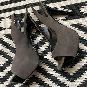 Jessica Simpson Peeptoe Suede Leather Heels